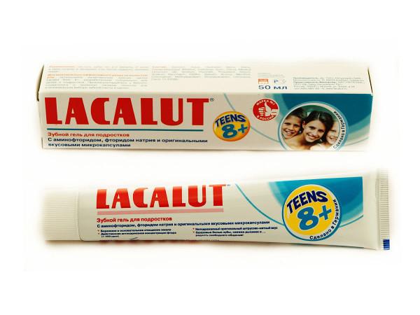 Зубной гель для подростков Lacalut Teens 8+. В состав входят аминофторид, фторид и вкусовые микрокапсулы