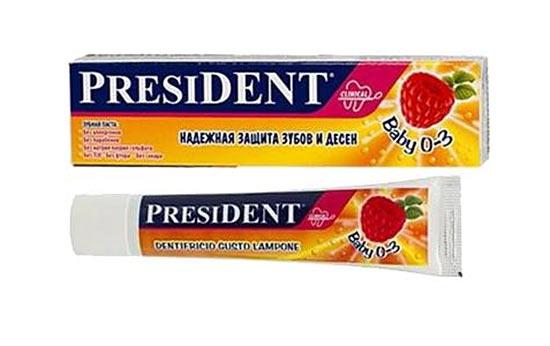 Детская зубная паста President Baby (Президент бейби) предназначена для детей от 0 до 3 лет