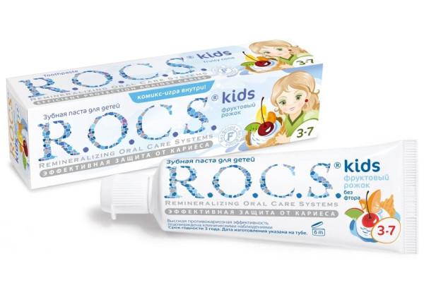 Детская зубная паста ROCS. Рассчитана на детей в возрасте от 3 до 7 лет